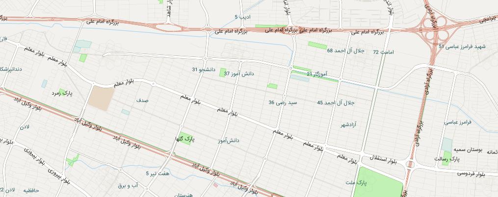 نقشه منطقه بلوار معلم مشهد