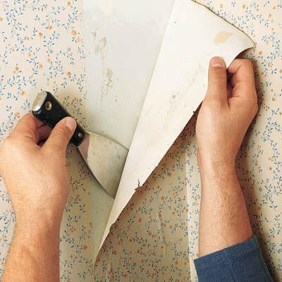 طریقه کندن کاغذ دیواری از روی دیوار