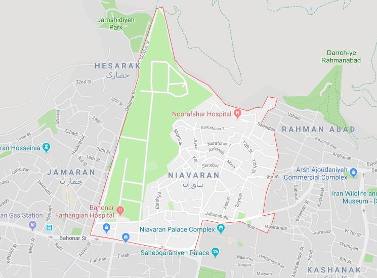 نقشه منطقه نیاوران تهران