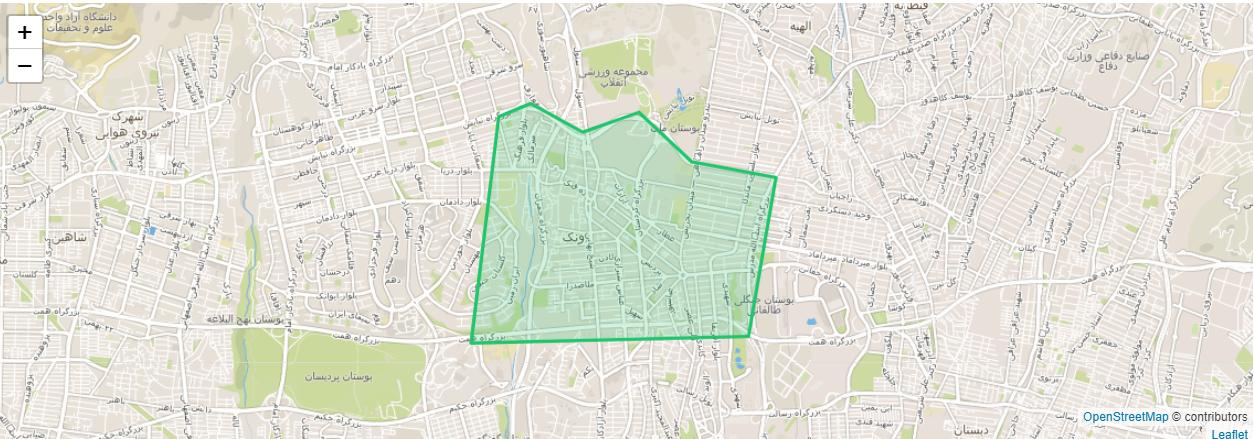 نقشه منطقه ونک