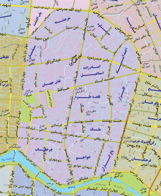 نقشه خیابان دردشت اصفهان