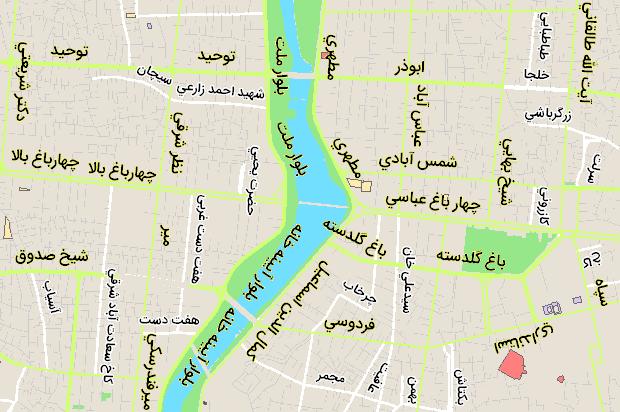 نقشه خیابان توحید اصفهان